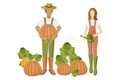 Man and woman pumpkin harvest Vector flat style. Growing autumn vegebtables illustration Stock Vector