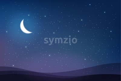 Sky full of stars and half moon magic card vector. Abstract warm colors Stock Vector
