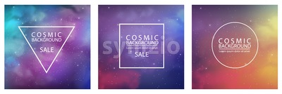 Pack of Cosmic backgrounds with abstract colors vector Stock Vector