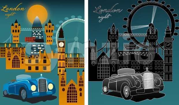 Set of London city at night with famous city landmarks, big ben, millennium wheel. Line art. Vector Stock Vector