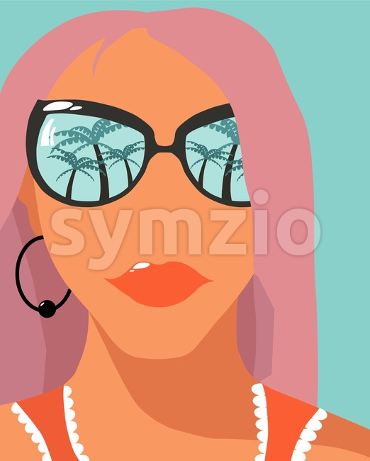 Cartoon fashion girl with rose hair and sunglasses with palm trees reflections. Holiday mood idea. Vector