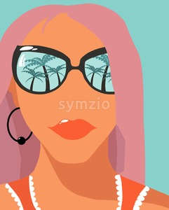 Cartoon fashion girl with rose hair and sunglasses with palm trees reflections. Holiday mood idea. Vector Stock Vector