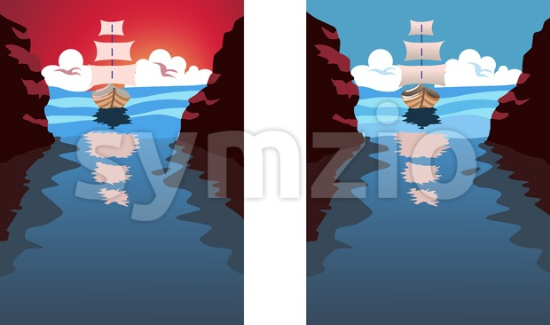 Big sail boat approaching a strait. Blue water and clouds in the sky. Holiday, vacation idea. Vector set with different ...