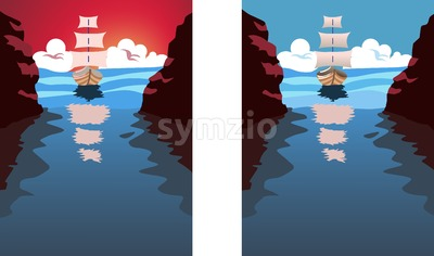 Big sail boat approaching a strait. Blue water and clouds in the sky. Holiday, vacation idea. Vector set with different colors Stock Vector