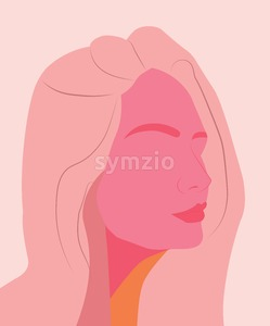Silhouette of a rose skin color girl without eyes. Sensual woman. Vector Stock Vector