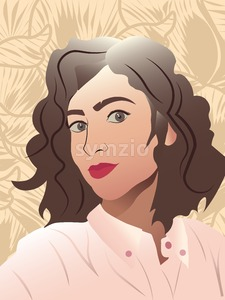 Young lady with red lips, curly hair and rose shirt smiling. Floral ornaments on background Stock Vector