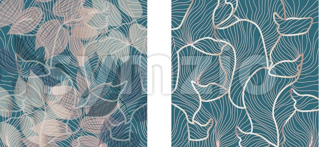 Set of floral ornaments pattern and fluid lines design. Green and rose color. Vector Stock Vector