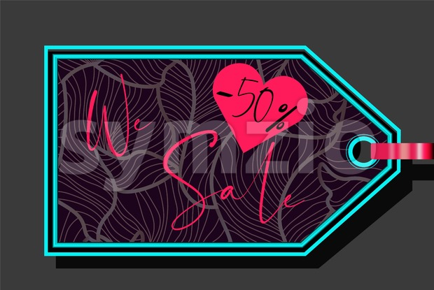 Valentines day sale sign with heart shape and fluid lines ornaments. Vector