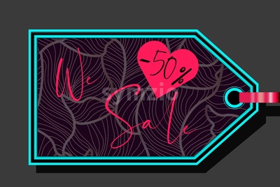 Valentines day sale sign with heart shape and fluid lines ornaments. Vector Stock Vector