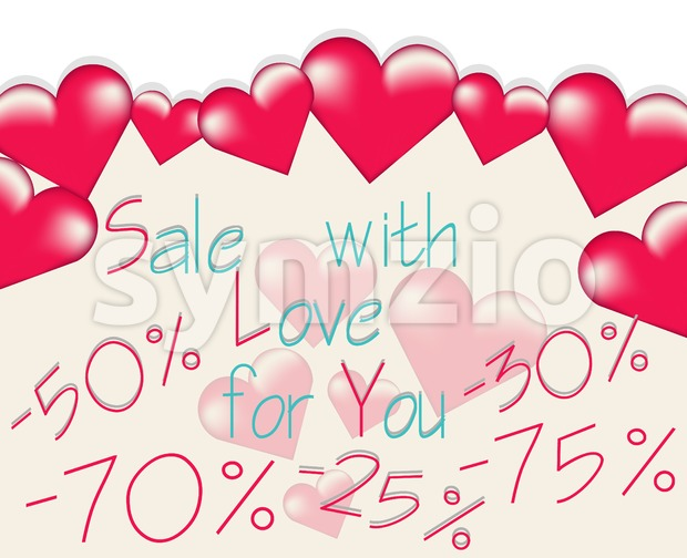 Valentines day sale banner with big rose hearts floating. Vector