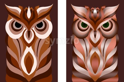 Stencil oriental style abstract owl set in different color variations. Vector Stock Vector