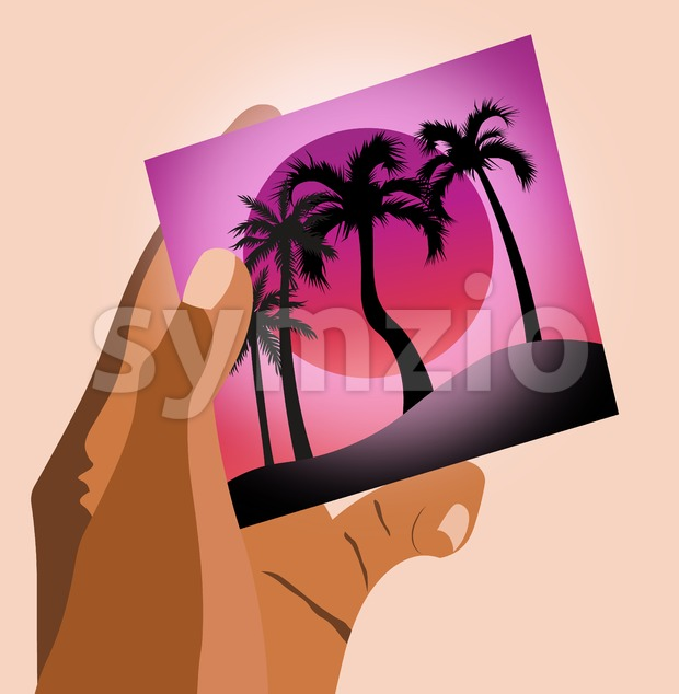 Woman hands holding a picture of beach with palm trees and purple sun in the sky. Vacation, invitation idea. Vector Stock Vector
