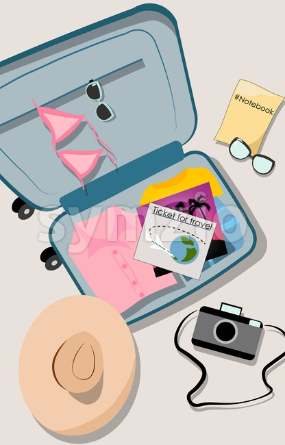 Overhead shot of opened suitcase filled with vacation clothes. Shirts, bathing suit, notebook, camera, hat and airplane travel ticket. Vector Stock Vector