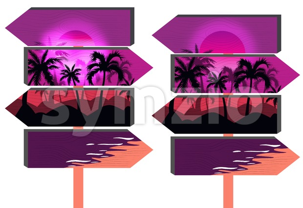 Wooden purple beach signs with palm trees and vibrant pink sky. Vector
