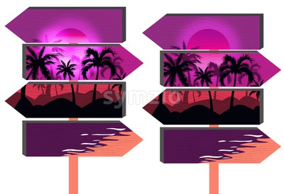 Wooden purple beach signs with palm trees and vibrant pink sky. Vector Stock Vector