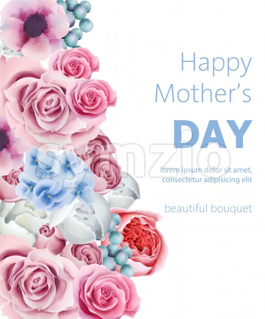 Happy mother's day composition with orchid, peony flowers, roses and berries. Watercolor Vector Stock Vector