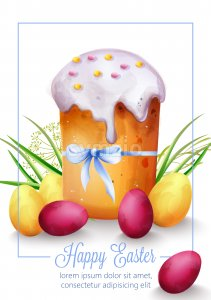 Happy Easter composition with holiday bread, green grass and colorful eggs. Watercolor Vector Stock Vector
