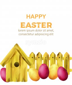 Happy easter composition with yellow bird house and colorful eggs. Watercolor vector Stock Vector
