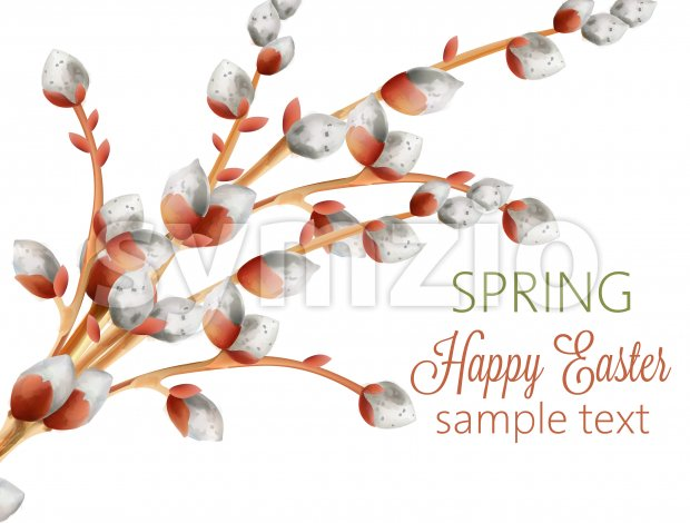 Watercolor branch of white catkins. Happy easter spring composition. Vector Stock Vector