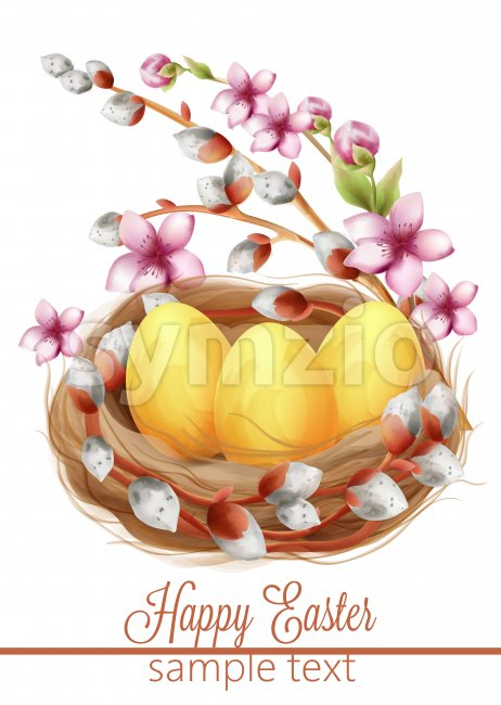 Happy easter eggs composition in a bird nest with flowers and catkins. Watercolor. Spring Vector Stock Vector