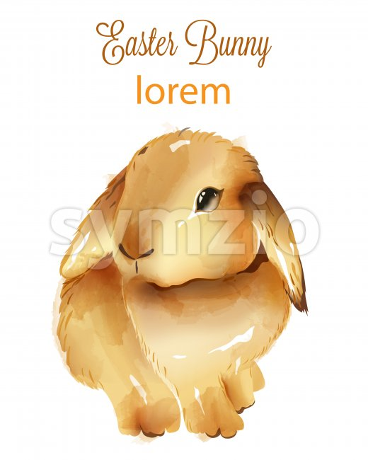 Happy easter watercolor fluffy bunny with ears down. Holiday animals. Vector Stock Vector