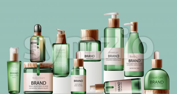 Set of various body care and spa green bottles with wood decoration. Body oil, lotion, serum, shower gel and perfume. Place for brand. Green Stock Vector