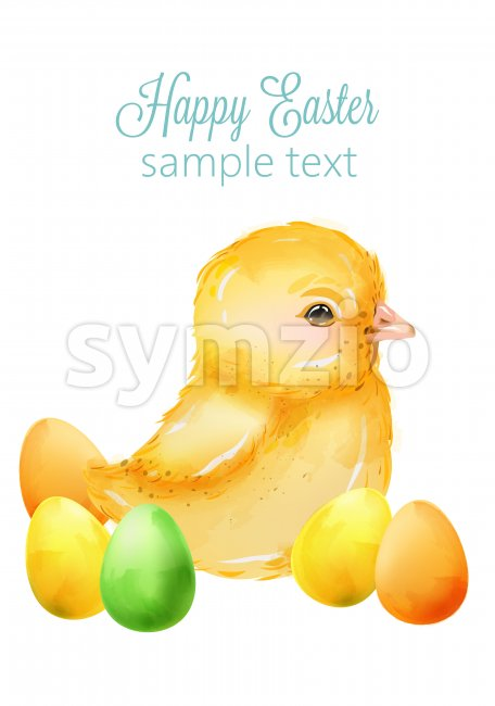 Watercolor happy easter yellow little baby duck with colorful eggs. Vector Stock Vector