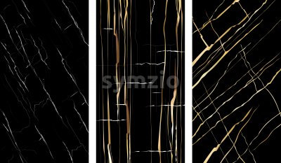 Set of marble textures with golden cracks and fractures. Vector Stock Vector