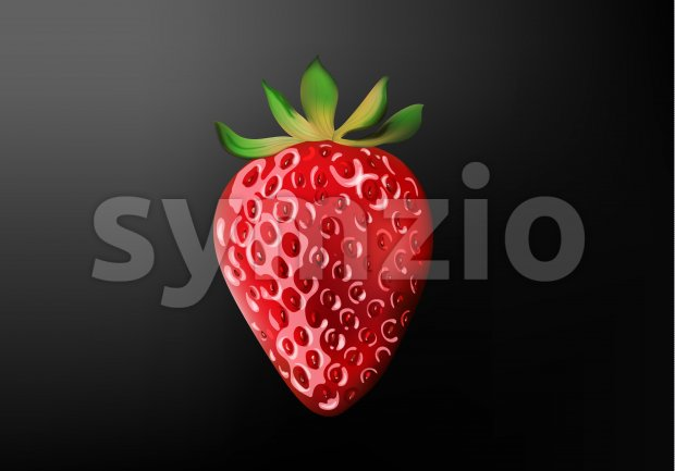 Three dimensional realistic strawberry with light reflecting. Black gradient background. Vector