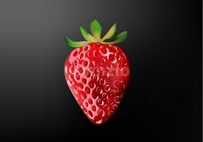 Three dimensional realistic strawberry with light reflecting. Black gradient background. Vector Stock Vector