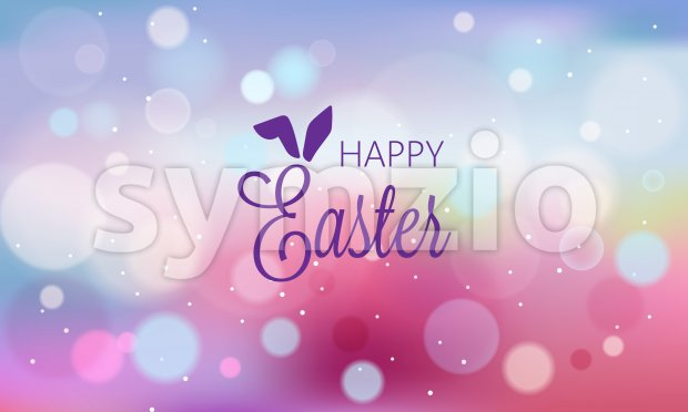 Happy easter abstract banner with blurry background and bokeh style shapes. Purple color. Vector