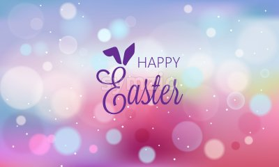 Happy easter abstract banner with blurry background and bokeh style shapes. Purple color. Vector Stock Vector