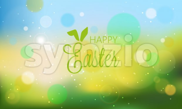 Happy easter abstract banner with blurry background and bokeh style lights. Green color. Vector