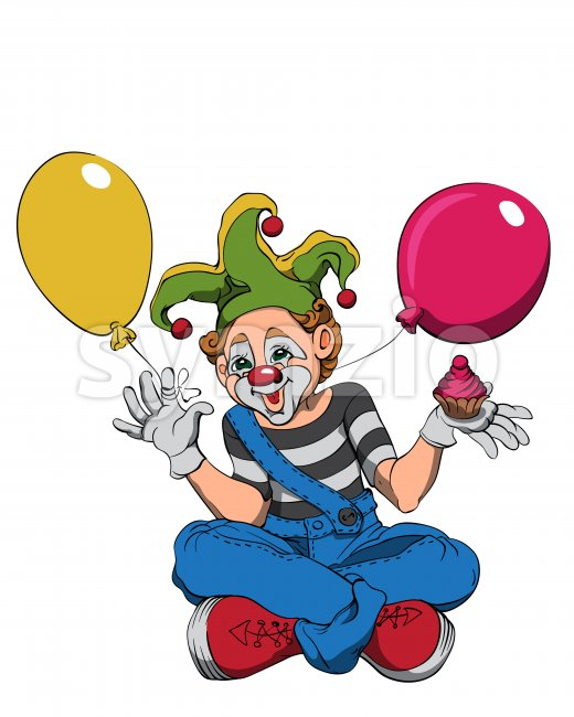 Mime clown with cupcake and colorful balloons smiling and waving. Vector Stock Vector