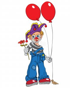 Mime clown with cupcake and red balloons smiling and handing a flower. Vector Stock Vector