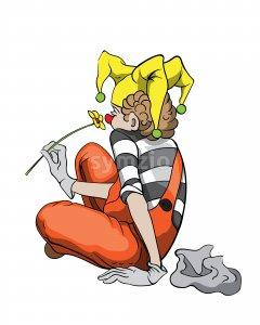 Sad mime clown contemplating with a yellow flower in hand. Vector Stock Vector