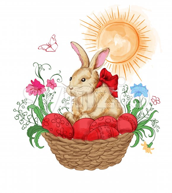 Watercolor bunny in a basket with red easter eggs. Flowers and sun shining on background. Vector Stock Vector