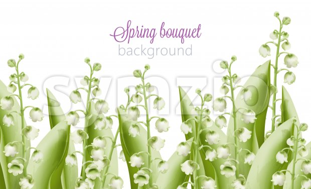Spring bouquet of green watercolor bell flowers with leaves. Vector