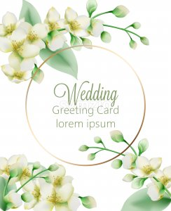 Watercolor green jasmine flowers banner with place for text. Vector Stock Vector
