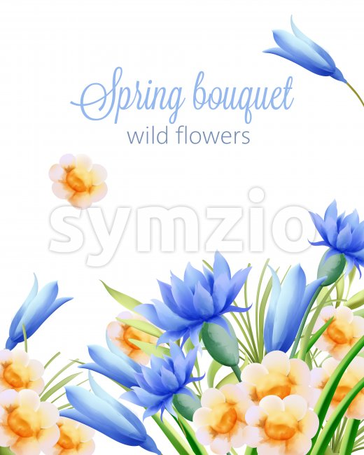 Spring watercolor bouquet of wild yellow and blue flowers. Vector Stock Vector