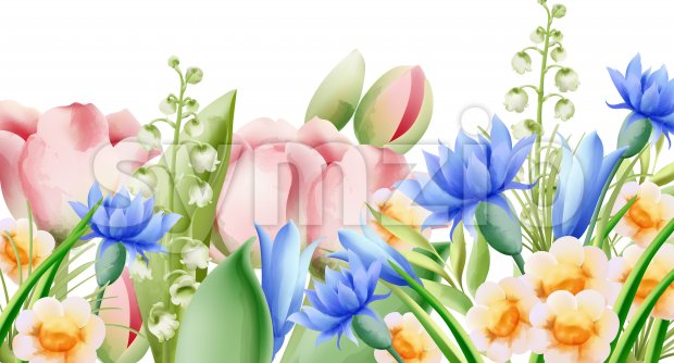 Spring watercolor bouquet of wild flowers. Bell, tulip, aster and daffodil. Vector Stock Vector