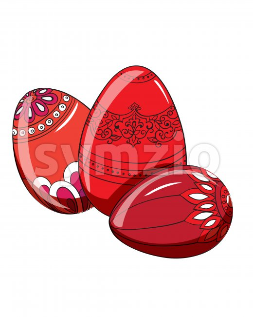Set of red easter eggs with various ornaments. Vector Stock Vector