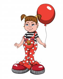 Young cartoon girl in red overall with pigtails holding a big balloon. Vector Stock Vector