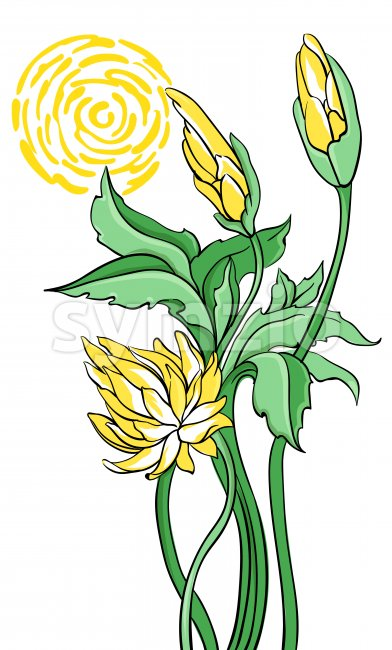 Yellow abstract lotus flower with green leaves and stem. Vector Stock Vector