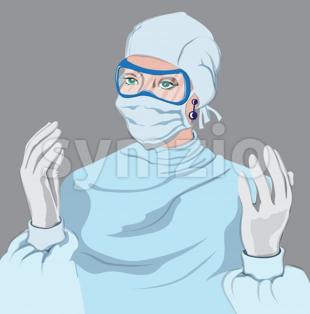 Doctor woman equipped Vector. Virus pandemic working medical stuff. Young woman wearing a disposables coverall with gloves, mask and eye protection Stock Vector