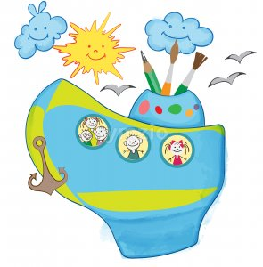 Cartoon childish composition with smiling sun and cloud, children in a boat looking through porthole. Vector Stock Vector