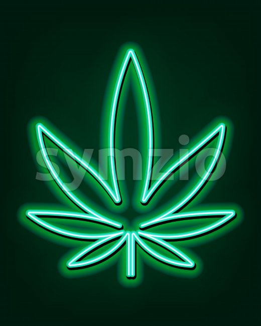 Green neon sign of marijuana leaves. Cannabis logo. Vector Stock Vector