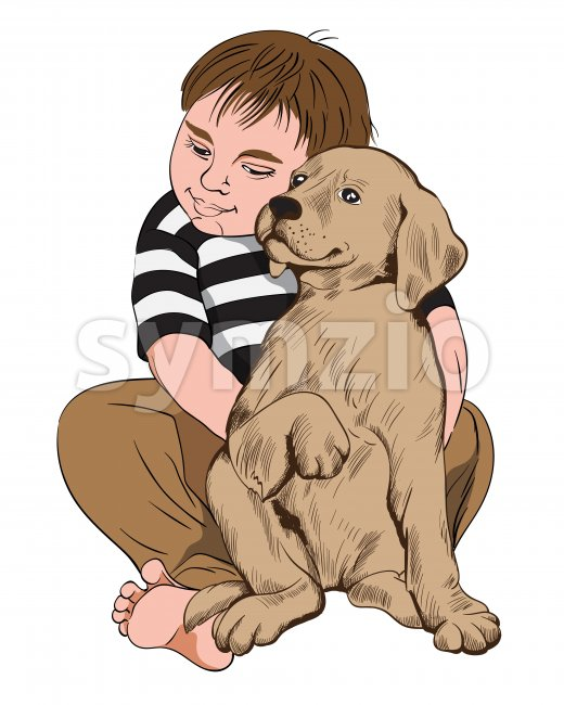 Young chubby boy hugging with a dog. Friendship with pets idea. Vector Stock Vector
