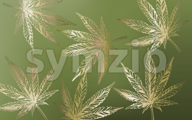 Line art marijuana cannabis leaves on green background. Vector Stock Vector
