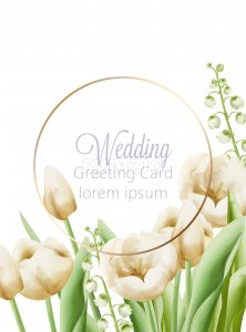 Wedding greeting card with cream buttercup and bell flowers with green leaves decoration. Watercolor Vector Stock Vector